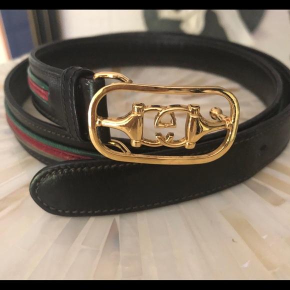 """35e84e22b Gucci Accessories - Vintage Gucci belt, black w/ classic colors, 33.5"""""""